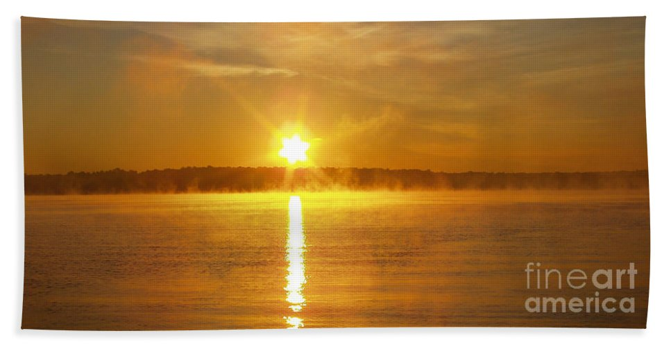 Fishing In The Fog Beach Towel featuring the photograph Fishing In The Fog by John Telfer