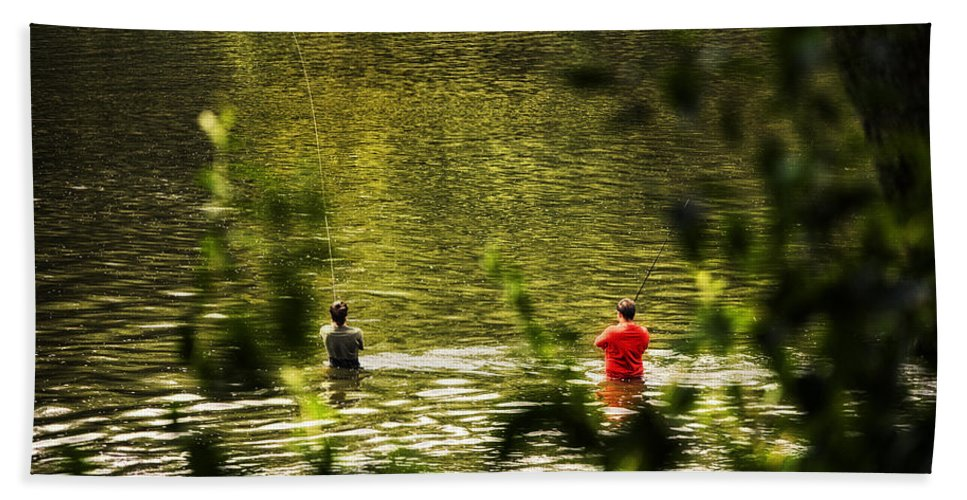 Tree Beach Towel featuring the photograph Fishing In The Pond by Thomas Woolworth