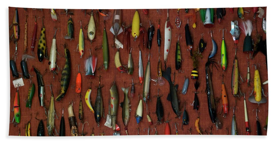 Animals Beach Towel featuring the photograph Fishing Lures 01 by Thomas Woolworth