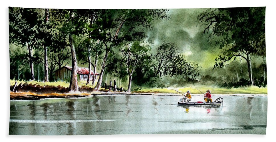 Fishing Beach Towel featuring the painting Fishing On Lazy Days - Aucilla River Florida by Bill Holkham