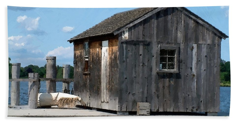 Shed Beach Towel featuring the painting Fishing Shack On The Mystic River by RC DeWinter