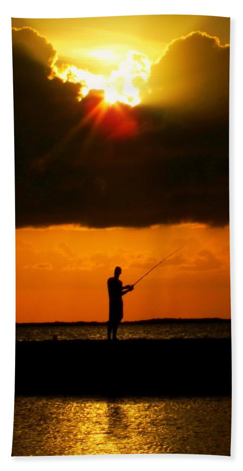 Fishing Beach Towel featuring the photograph Fishing The Sun by Karen Wiles