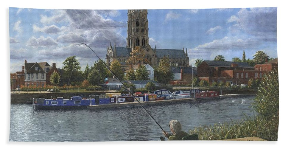 The Minster Church Of Saint George Beach Towel featuring the painting Fishing With Oscar - Doncaster Minster by Richard Harpum