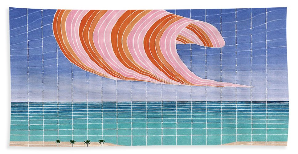 3d Beach Towel featuring the painting Five Beach Umbrellas by Jesse Jackson Brown