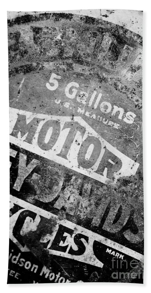 Oil Beach Towel featuring the photograph Five Gallon Motorcycle Oil Can by Wilma Birdwell