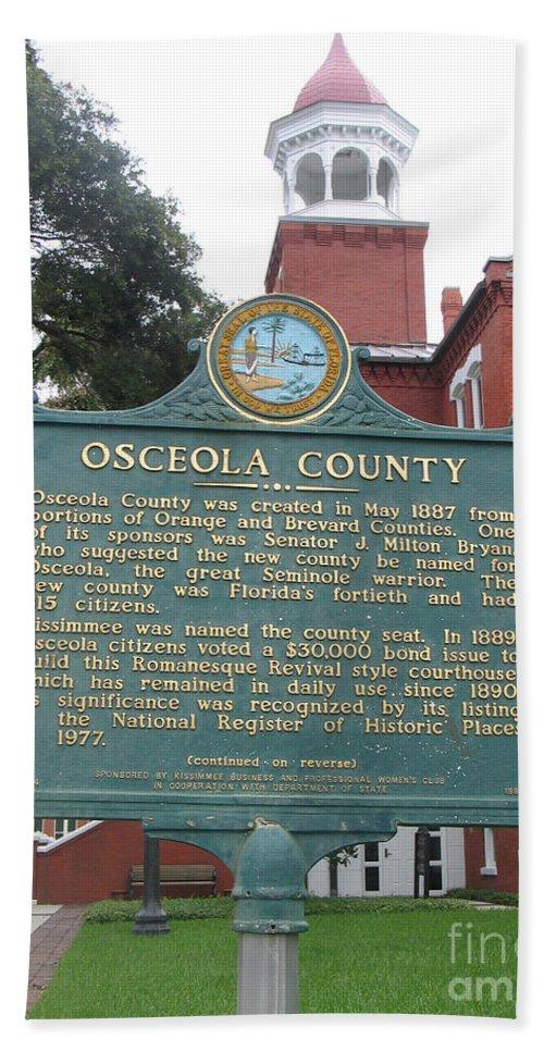 Historic Marker Beach Towel featuring the photograph Fl-f304 Osceola County by Jason O Watson