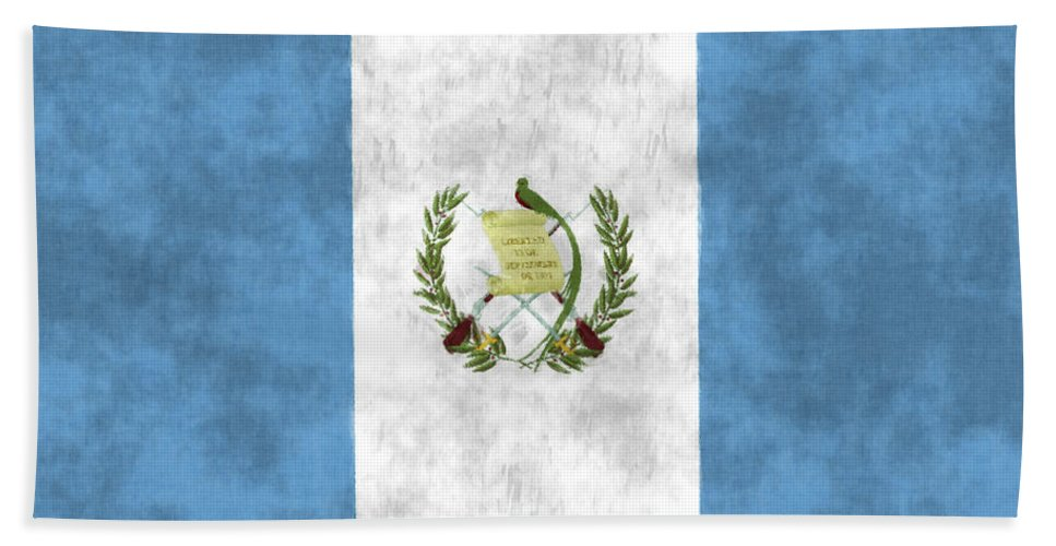 Central America Beach Towel featuring the digital art Flag Of Guatamala by World Art Prints And Designs