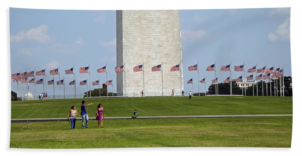 Flag Beach Towel featuring the photograph Flags Around Washington by Cora Wandel