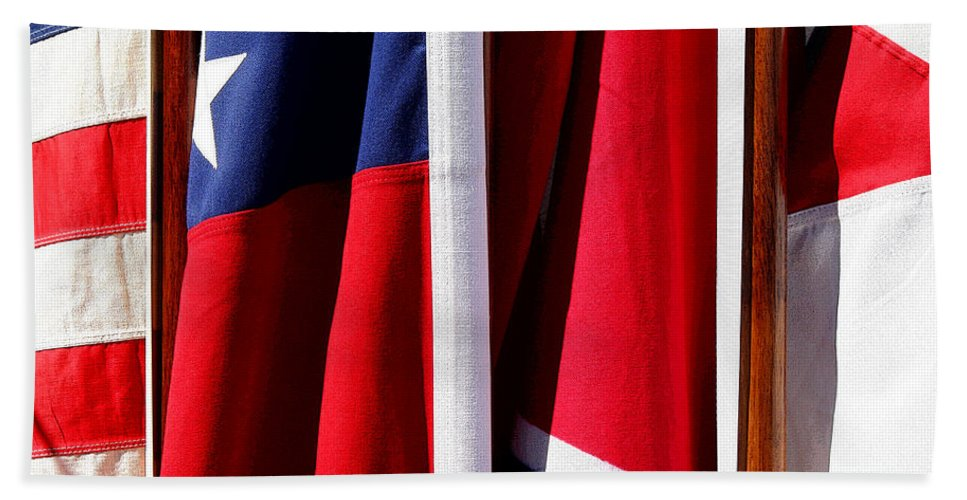 Flag Beach Towel featuring the photograph Flags Of The North And South by Joe Kozlowski