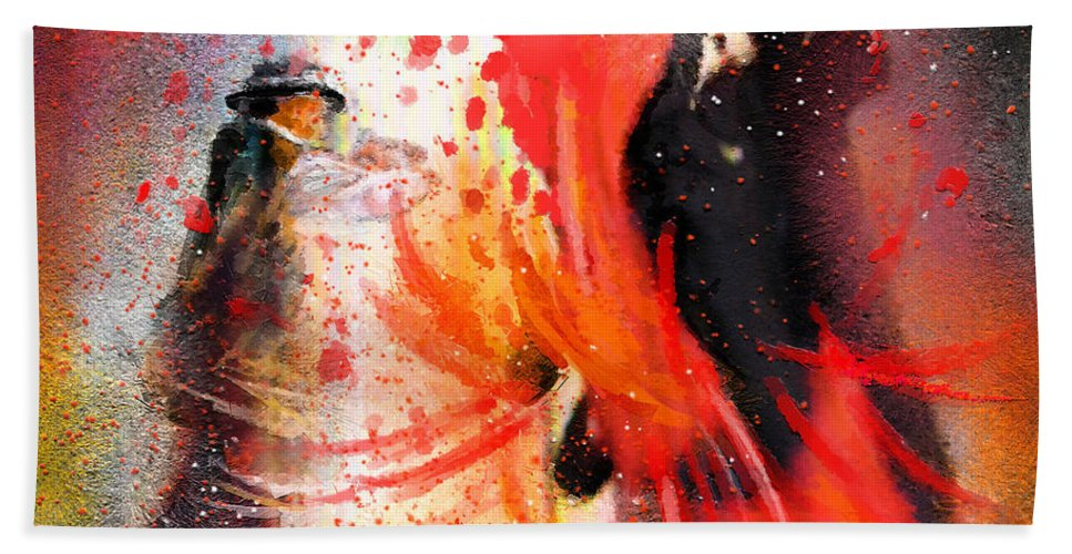 Flamenco Dance Beach Towel featuring the painting Flamencoscape 07 by Miki De Goodaboom
