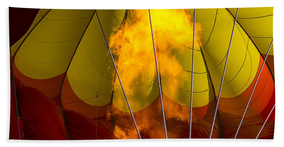 Flames Heating Beach Towel featuring the photograph Flames Heating Up Hot Air Balloon by Garry Gay