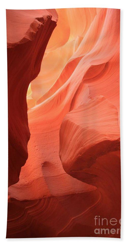 Arizona Slot Canyon Beach Towel featuring the photograph Flames In The Slot by Adam Jewell
