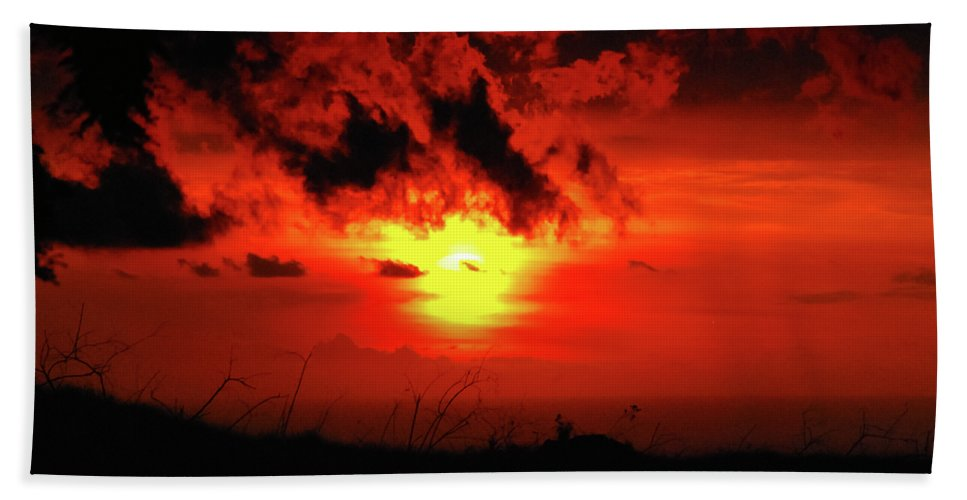 Big Island Beach Towel featuring the photograph Flaming Sunset by Christi Kraft