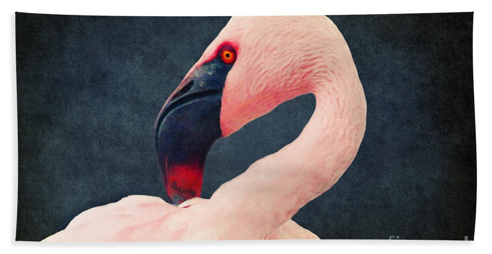 Flamingo Beach Towel featuring the digital art Flamingo by Angela Doelling AD DESIGN Photo and PhotoArt