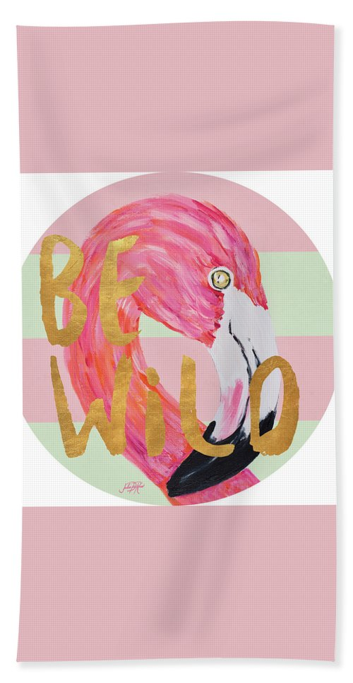 Flamingo Beach Towel featuring the painting Flamingo On Stripes Round by Julie Derice