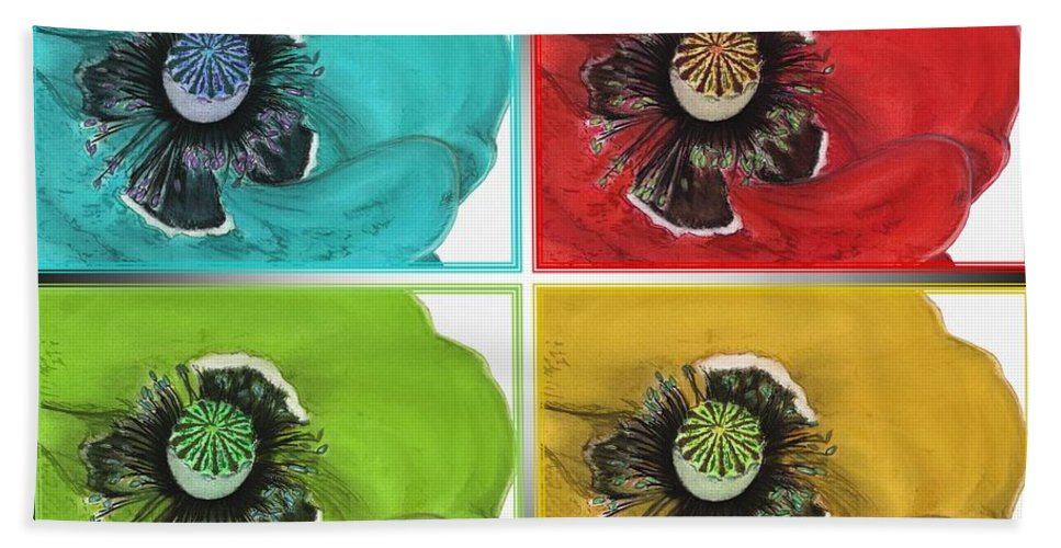 Mccombie Beach Towel featuring the drawing Flanders Poppy Pop Art by J McCombie