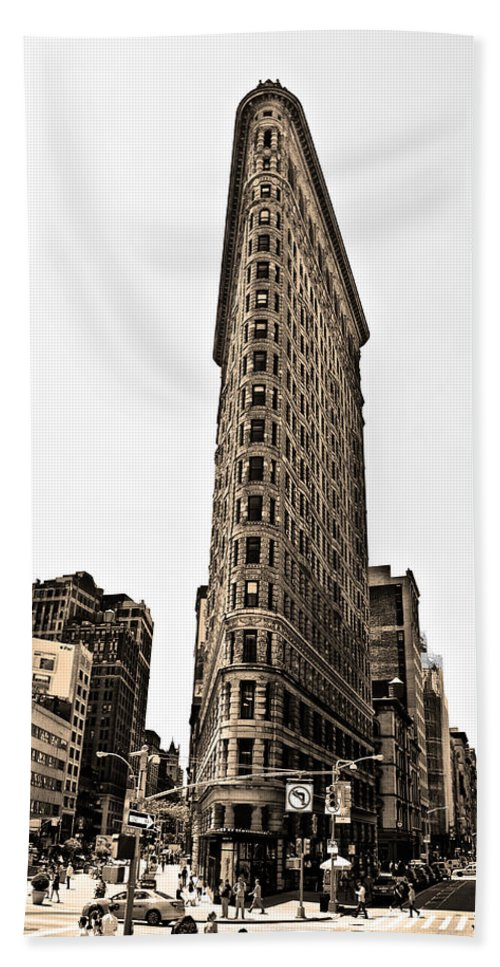 Flat Beach Towel featuring the photograph Flat Iron Building In Sepia by Bill Cannon