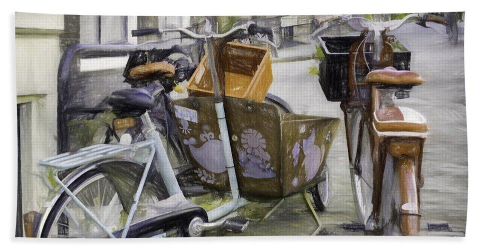 Bicycle Beach Towel featuring the photograph Flat Tire by Jean OKeeffe Macro Abundance Art