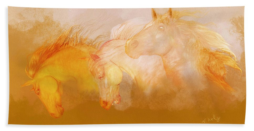 Horses Beach Towel featuring the painting Flaxen Manes by Valerie Anne Kelly