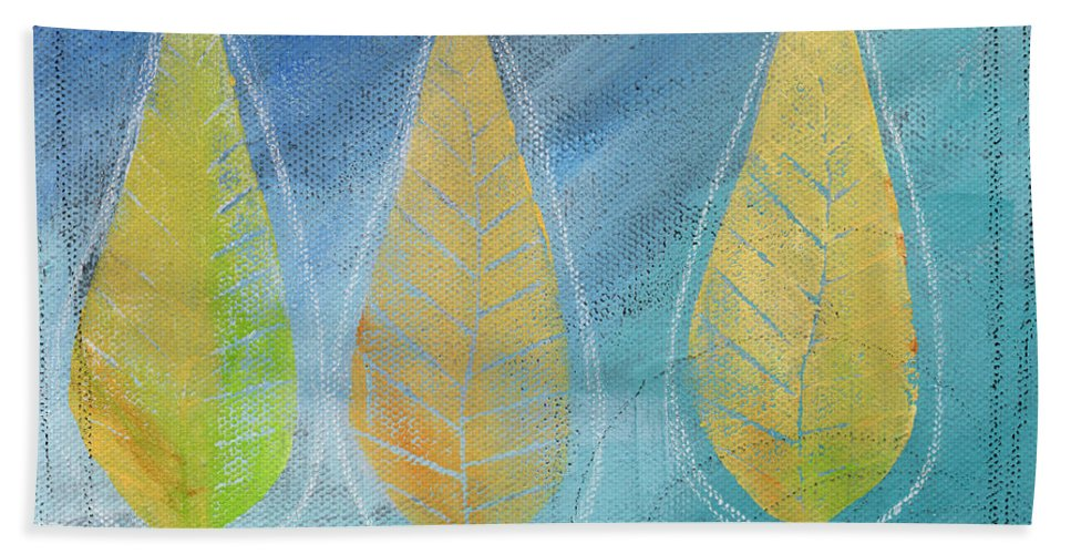 Abstract Beach Towel featuring the painting Floating by Linda Woods