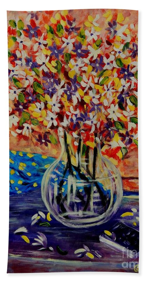 Florals Beach Towel featuring the painting Floral Bliss by Caroline Street