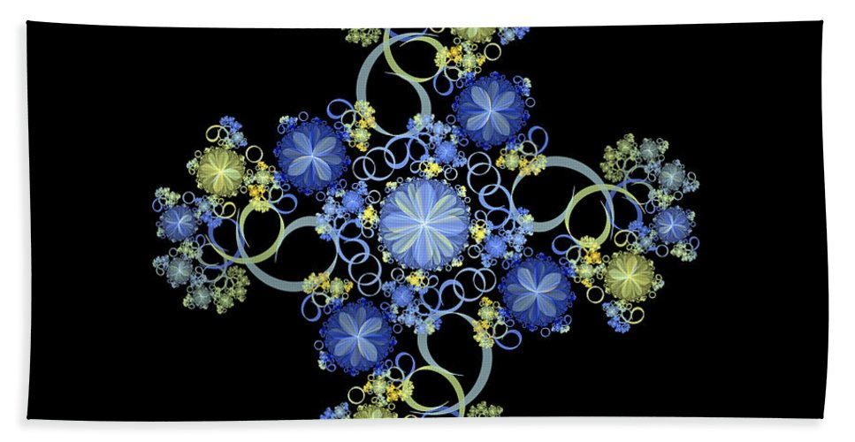 Abstract Fractal Beach Towel featuring the digital art Floral Celebration 1 by Sandy Keeton