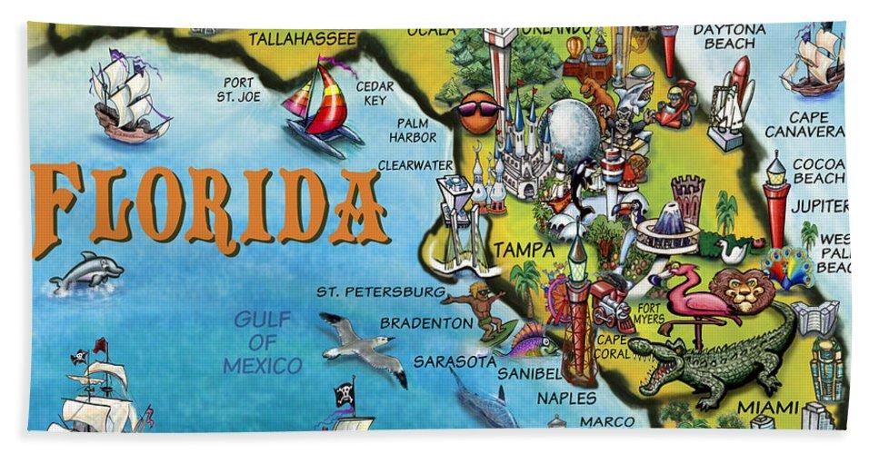 Florida Cartoon Map Beach Towel on