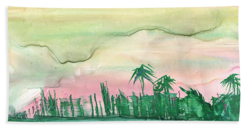 Palm Trees Beach Towel featuring the painting Florida City-skyline by Mickey Krause