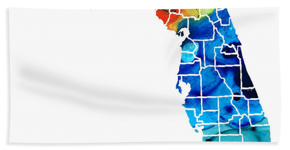 Florida Beach Towel featuring the painting Florida - Map By Counties Sharon Cummings Art by Sharon Cummings