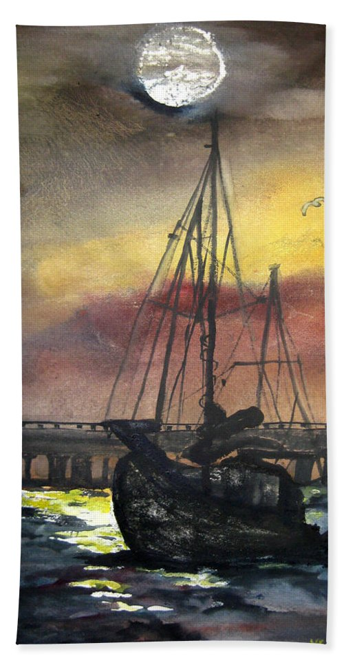 Florida Beach Towel featuring the painting Florida Sailing by Lil Taylor