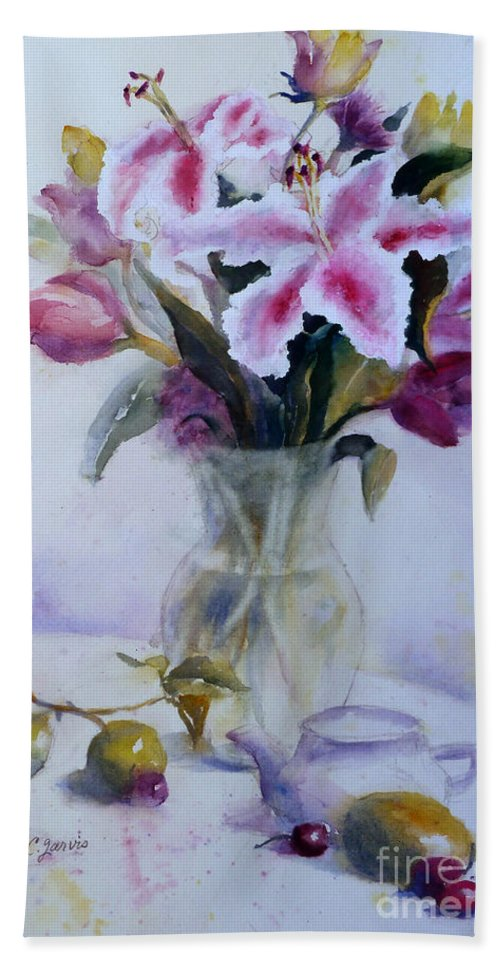 Flower Beach Towel featuring the painting Flower Bouquet With Teapot And Fruit by Carolyn Jarvis