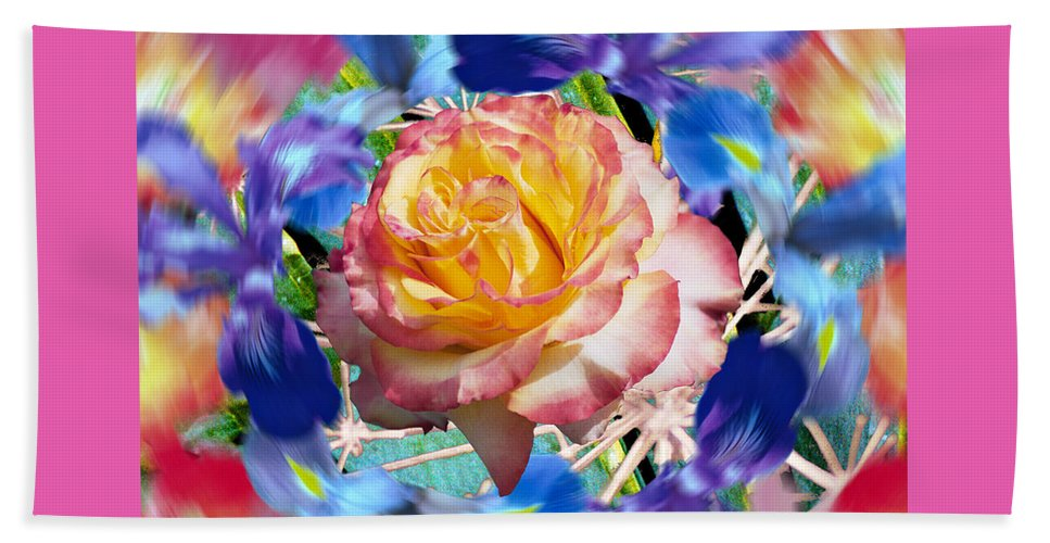 Flowers Beach Towel featuring the digital art Flower Dance 2 by Lisa Yount