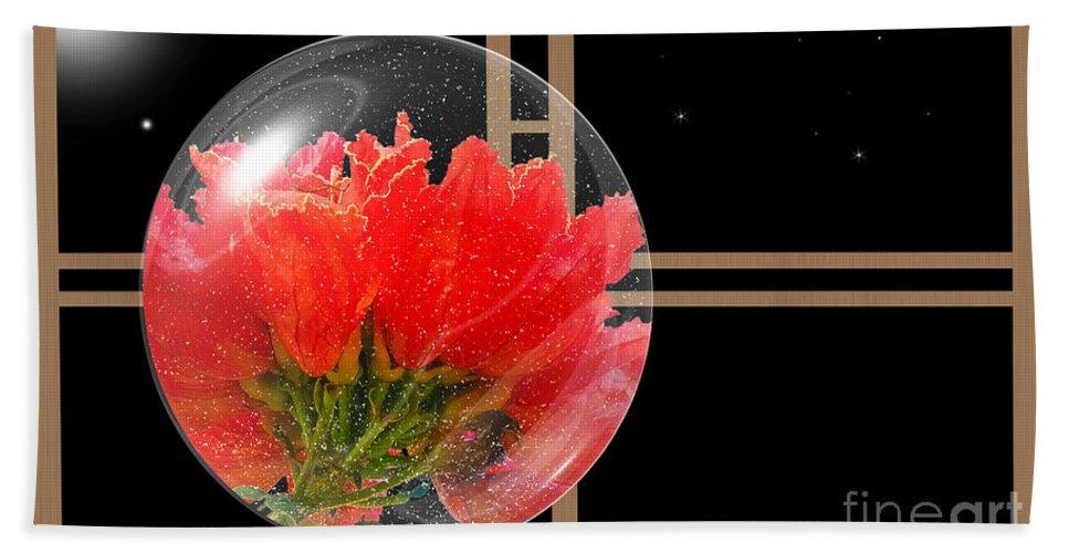 Claudia's Art Dream Beach Towel featuring the photograph Flower Snow Globe At Window by Claudia Ellis