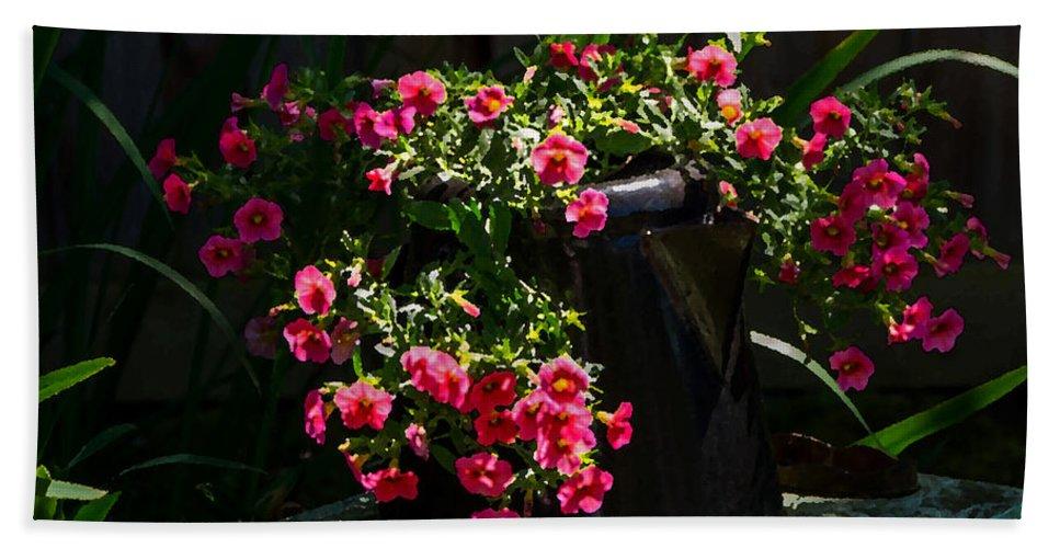 Flowers Beach Towel featuring the photograph Flowering Coffee Pot by Jordan Blackstone