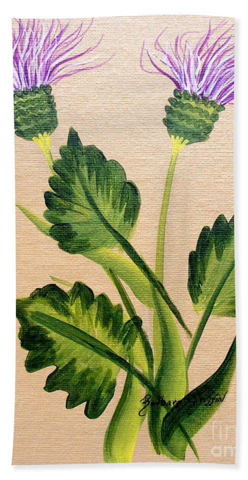 Barbara Griffin Beach Towel featuring the painting Flowering Thistle by Barbara Griffin