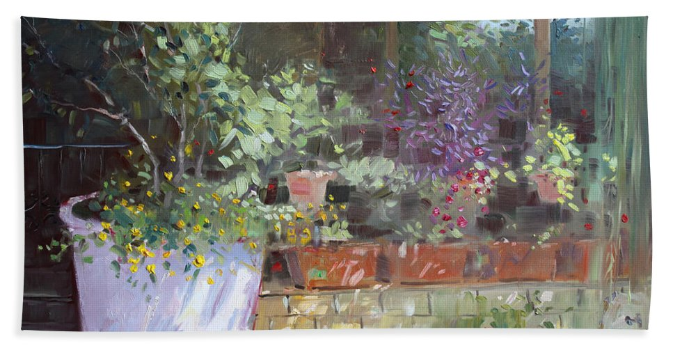 Flowers Beach Towel featuring the painting Flowers At Lida's Veranda by Ylli Haruni
