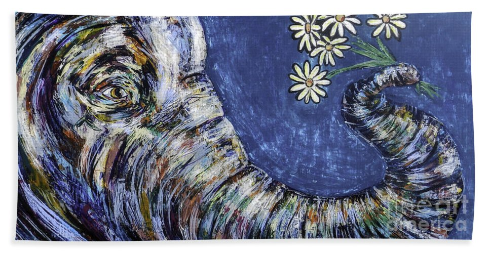 Blue Beach Towel featuring the painting Flowers For You by Lovejoy Creations
