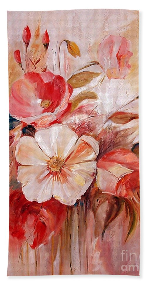 Abstract Beach Towel featuring the painting Flowers I by Silvana Abel