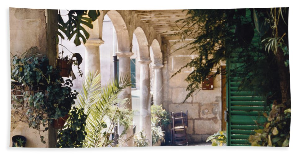 Architecture Beach Towel featuring the photograph Flowery Majorquin Patio In Valdemosa by Heiko Koehrer-Wagner