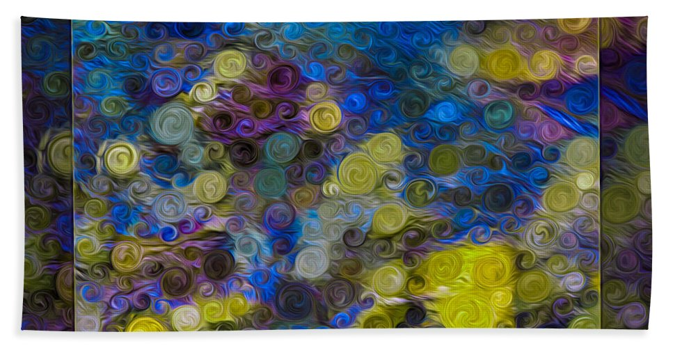 5x7 Beach Towel featuring the painting Flowing River Water And Rocks Colorful Abstract Painting by Omaste Witkowski
