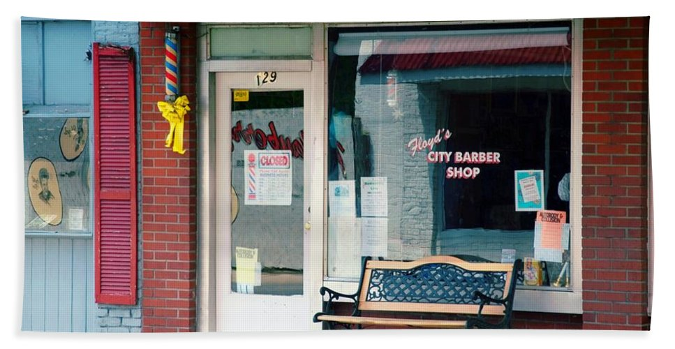 Floyd's Barber Shop Mt. Airy Beach Towel featuring the photograph Floyd's Barber Shop Nc by Bob Pardue