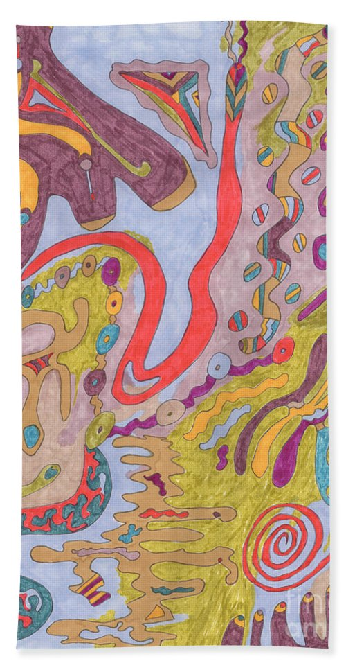 Butterfly Beach Towel featuring the drawing Flutterfly Land by Rebekah McLeod