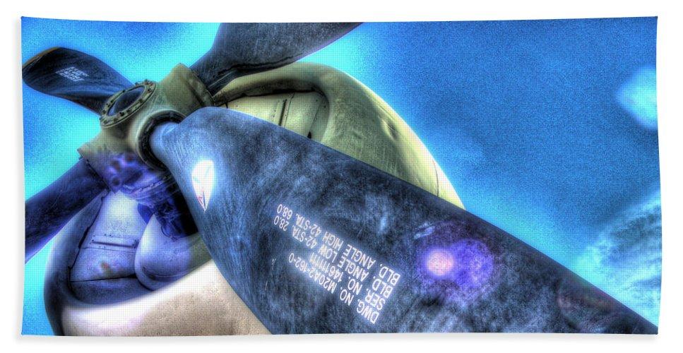 Airplane Beach Towel featuring the photograph Blue Prop by Galen Hazelhofer