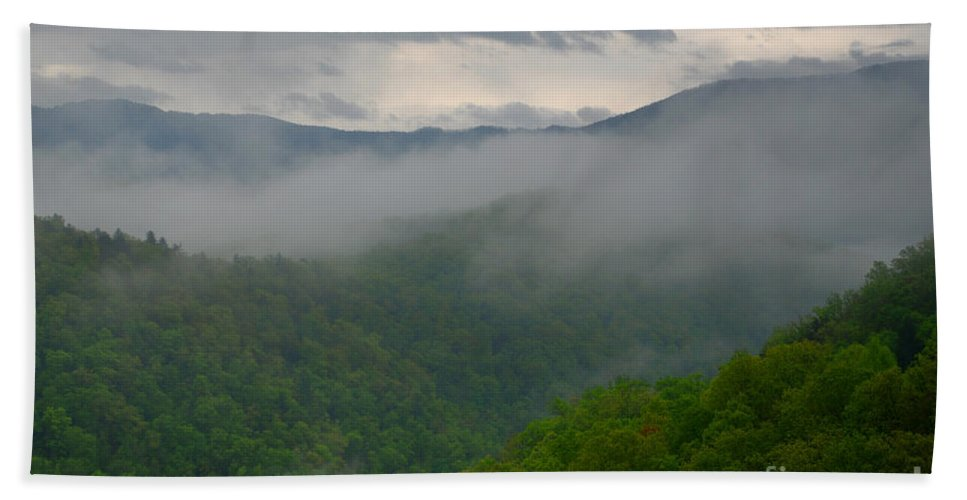 Mountains Beach Towel featuring the photograph Fog Over The Smokies by Nancy Mueller