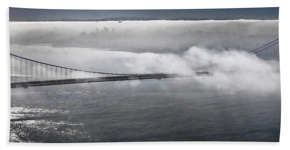 Fog Shrouded City Beach Towel featuring the photograph Fog Shrouded City by Wes and Dotty Weber