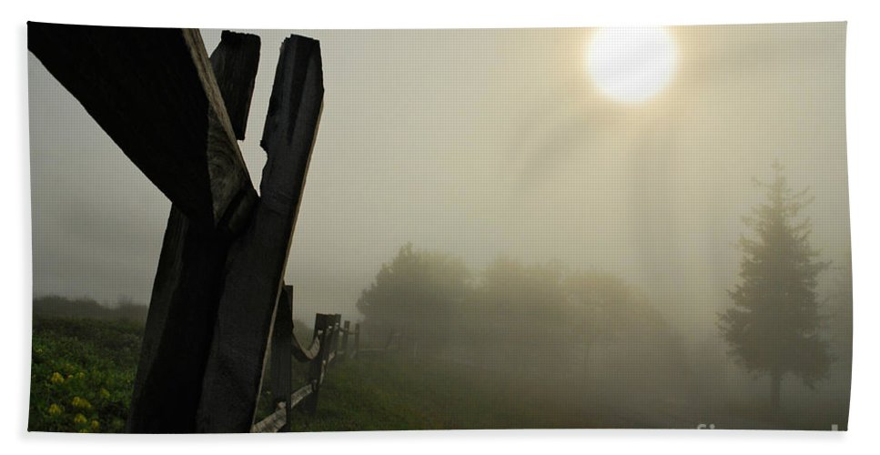 Foggy Country Road Beach Towel featuring the photograph Foggy Country Road by Lois Bryan