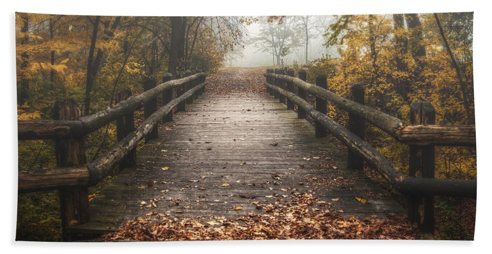 Bridge Beach Towel featuring the photograph Foggy Lake Park Footbridge by Scott Norris