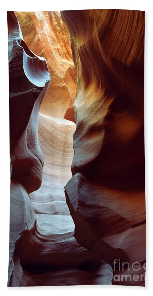 Slot Canyon Beach Sheet featuring the photograph Follow The Light II by Kathy McClure