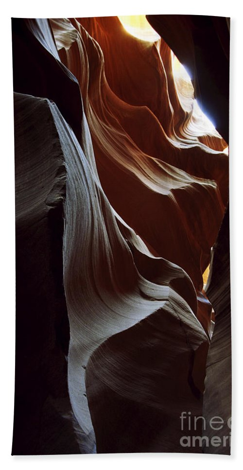 Antelope Canyon Beach Sheet featuring the photograph Follow The Light by Kathy McClure