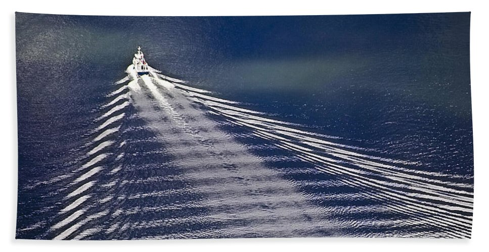 Heiko Beach Towel featuring the photograph Following The Wake by Heiko Koehrer-Wagner